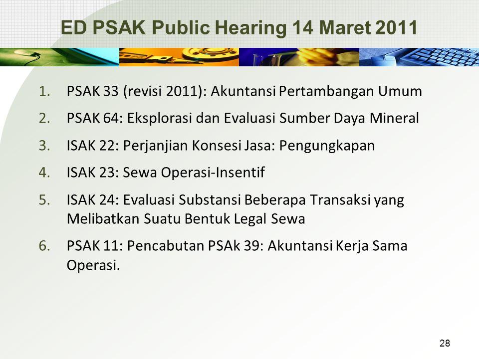 ED PSAK Public Hearing 14 Maret 2011 1.PSAK 33 (revisi 2011): Akuntansi Pertambangan Umum 2.PSAK 64: Eksplorasi dan Evaluasi Sumber Daya Mineral 3.ISAK 22: Perjanjian Konsesi Jasa: Pengungkapan 4.ISAK 23: Sewa Operasi-Insentif 5.ISAK 24: Evaluasi Substansi Beberapa Transaksi yang Melibatkan Suatu Bentuk Legal Sewa 6.PSAK 11: Pencabutan PSAk 39: Akuntansi Kerja Sama Operasi.