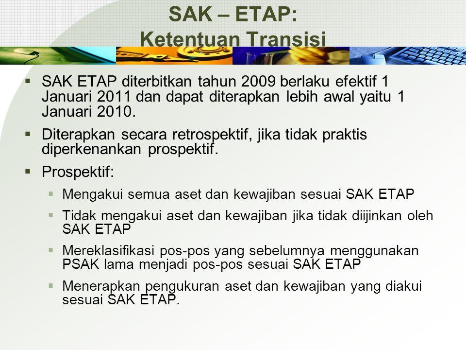 SAK – ETAP: Ketentuan Transisi  SAK ETAP diterbitkan tahun 2009 berlaku efektif 1 Januari 2011 dan dapat diterapkan lebih awal yaitu 1 Januari 2010.