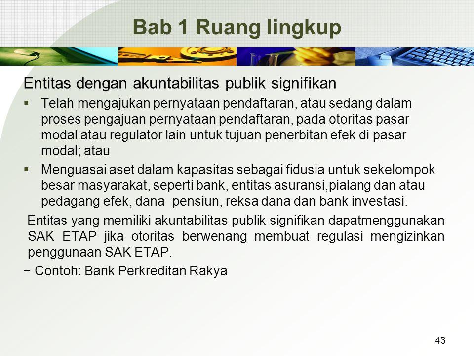 Bab 1 Ruang lingkup Entitas dengan akuntabilitas publik signifikan  Telah mengajukan pernyataan pendaftaran, atau sedang dalam proses pengajuan perny