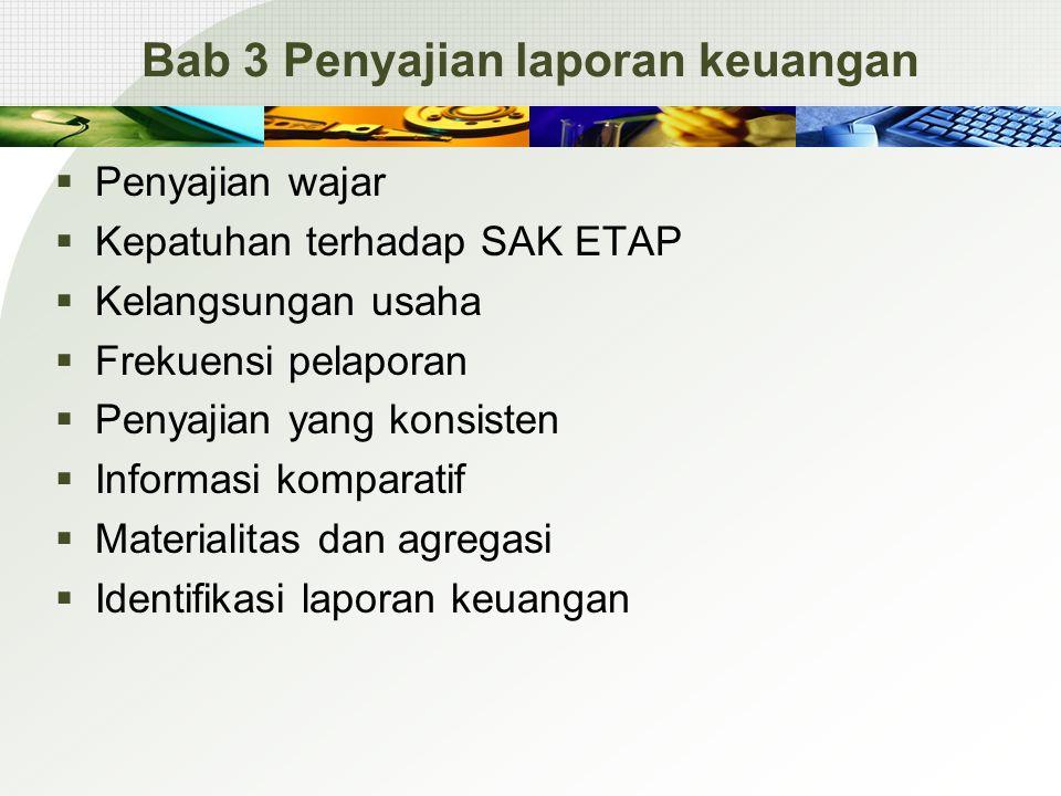 Bab 3 Penyajian laporan keuangan  Penyajian wajar  Kepatuhan terhadap SAK ETAP  Kelangsungan usaha  Frekuensi pelaporan  Penyajian yang konsisten  Informasi komparatif  Materialitas dan agregasi  Identifikasi laporan keuangan