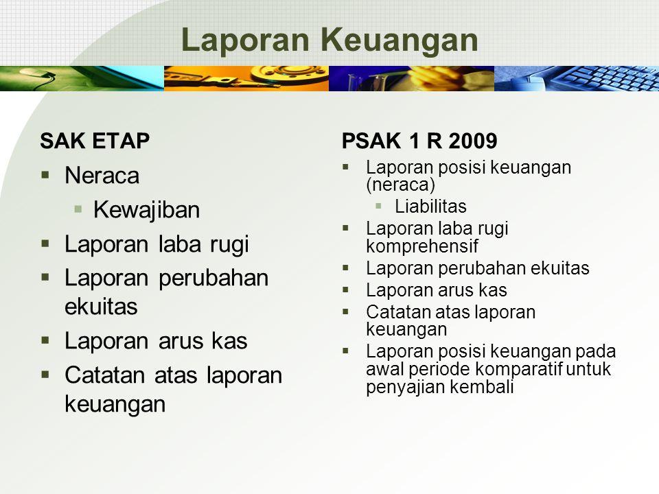 Laporan Keuangan SAK ETAP  Neraca  Kewajiban  Laporan laba rugi  Laporan perubahan ekuitas  Laporan arus kas  Catatan atas laporan keuangan PSAK