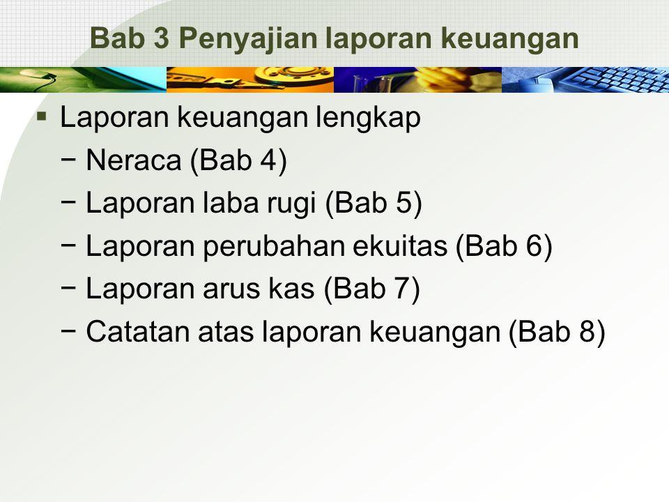 Bab 3 Penyajian laporan keuangan  Laporan keuangan lengkap − Neraca (Bab 4) − Laporan laba rugi (Bab 5) − Laporan perubahan ekuitas (Bab 6) − Laporan arus kas (Bab 7) − Catatan atas laporan keuangan (Bab 8)