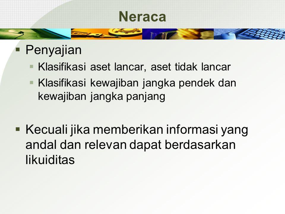 Neraca  Penyajian  Klasifikasi aset lancar, aset tidak lancar  Klasifikasi kewajiban jangka pendek dan kewajiban jangka panjang  Kecuali jika memberikan informasi yang andal dan relevan dapat berdasarkan likuiditas