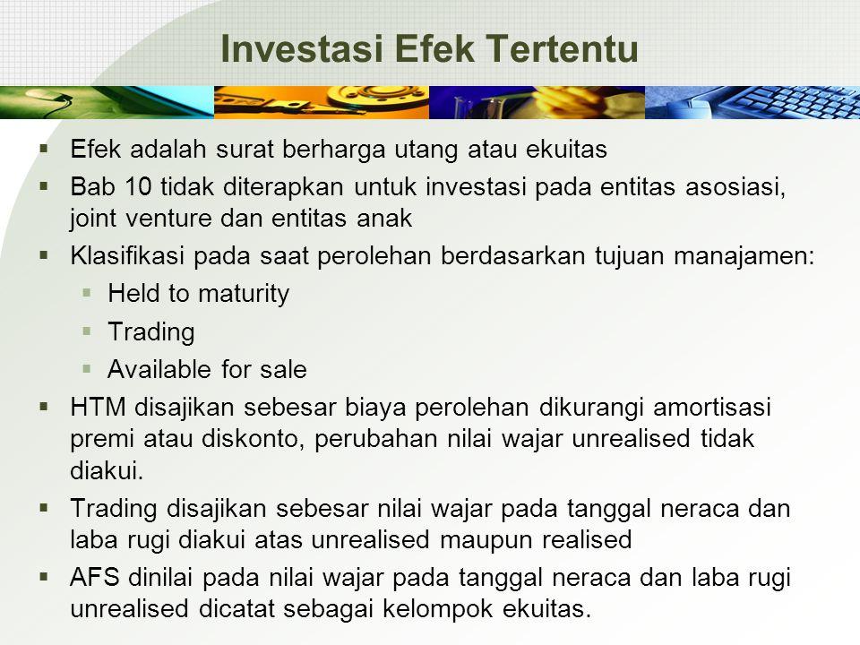 Investasi Efek Tertentu  Efek adalah surat berharga utang atau ekuitas  Bab 10 tidak diterapkan untuk investasi pada entitas asosiasi, joint venture
