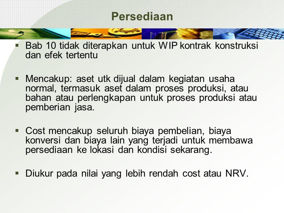 Persediaan  Bab 10 tidak diterapkan untuk WIP kontrak konstruksi dan efek tertentu  Mencakup: aset utk dijual dalam kegiatan usaha normal, termasuk