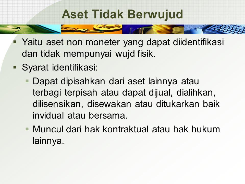 Aset Tidak Berwujud  Yaitu aset non moneter yang dapat diidentifikasi dan tidak mempunyai wujd fisik.  Syarat identifikasi:  Dapat dipisahkan dari