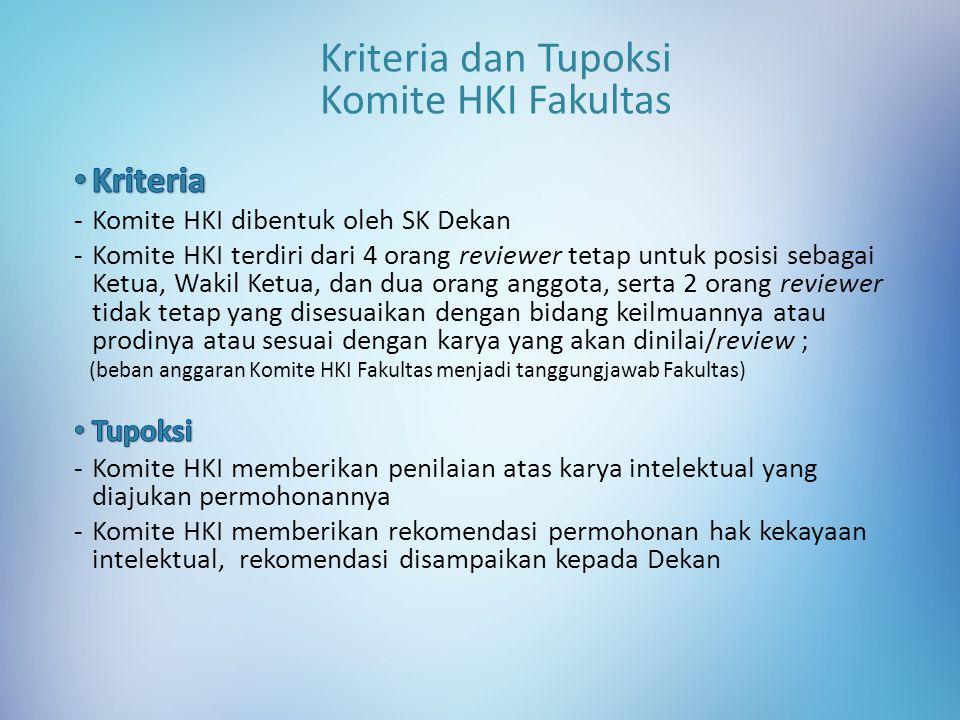 Kriteria dan Tupoksi Komite HKI Fakultas