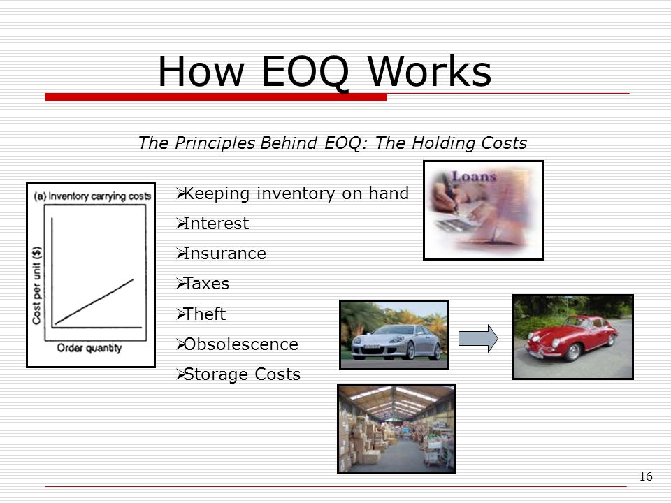 16 How EOQ Works The Principles Behind EOQ: The Holding Costs  Keeping inventory on hand  Interest  Insurance  Taxes  Theft  Obsolescence  Stor