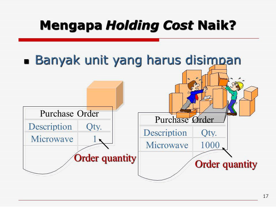 17 Banyak unit yang harus disimpan Banyak unit yang harus disimpan Purchase Order DescriptionQty. Microwave1 Order quantity Purchase Order Description