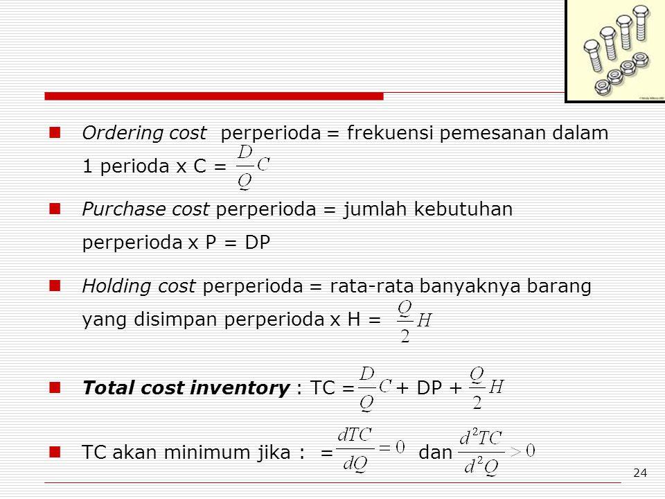 24 Ordering cost perperioda = frekuensi pemesanan dalam 1 perioda x C = Purchase cost perperioda = jumlah kebutuhan perperioda x P = DP Holding cost p
