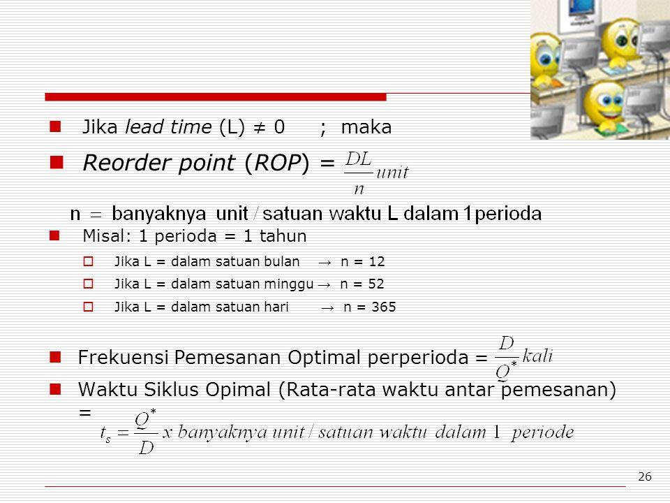 26 Jika lead time (L) ≠ 0 ; maka Reorder point (ROP) = Misal: 1 perioda = 1 tahun  Jika L = dalam satuan bulan → n = 12  Jika L = dalam satuan mingg