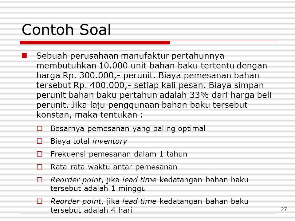 27 Contoh Soal Sebuah perusahaan manufaktur pertahunnya membutuhkan 10.000 unit bahan baku tertentu dengan harga Rp. 300.000,- perunit. Biaya pemesana