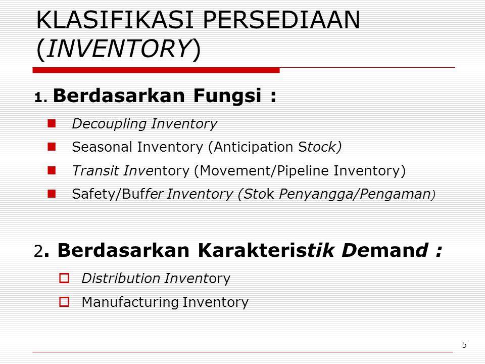 5 KLASIFIKASI PERSEDIAAN (INVENTORY) 1. Berdasarkan Fungsi : Decoupling Inventory Seasonal Inventory (Anticipation Stock) Transit Inventory (Movement/