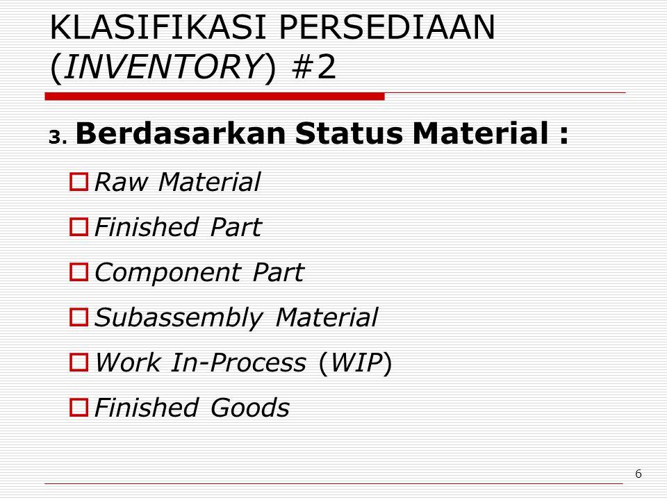 6 KLASIFIKASI PERSEDIAAN (INVENTORY) #2 3. Berdasarkan Status Material :  Raw Material  Finished Part  Component Part  Subassembly Material  Work