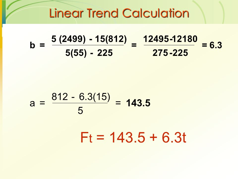 Linear Trend Calculation F t = 143.5 + 6.3t a= 812- 6.3(15) 5 = b= 5 (2499)- 15(812) 5(55)- 225 = 12495-12180 275-225 = 6.3 143.5