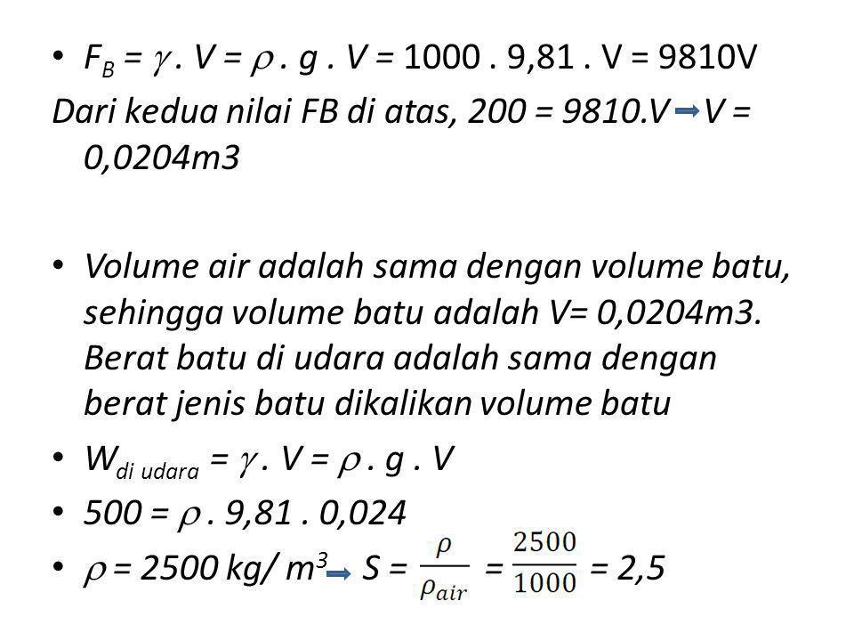 F B = . V = . g. V = 1000. 9,81. V = 9810V Dari kedua nilai FB di atas, 200 = 9810.V V = 0,0204m3 Volume air adalah sama dengan volume batu, sehingg