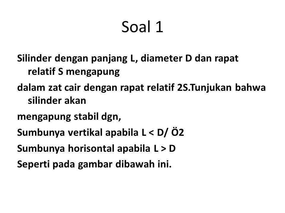 Soal 1 Silinder dengan panjang L, diameter D dan rapat relatif S mengapung dalam zat cair dengan rapat relatif 2S.Tunjukan bahwa silinder akan mengapung stabil dgn, Sumbunya vertikal apabila L < D/ Ö2 Sumbunya horisontal apabila L > D Seperti pada gambar dibawah ini.