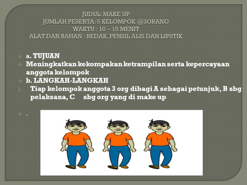 JUDUL: MAKE UP JUMLAH PESERTA: 5 KELOMPOK @3ORANG WAKTU : 10 – 15 MENIT ALAT DAN BAHAN : BEDAK, PENSIL ALIS DAN LIPSTIK  a. TUJUAN  Meningkatkan kek