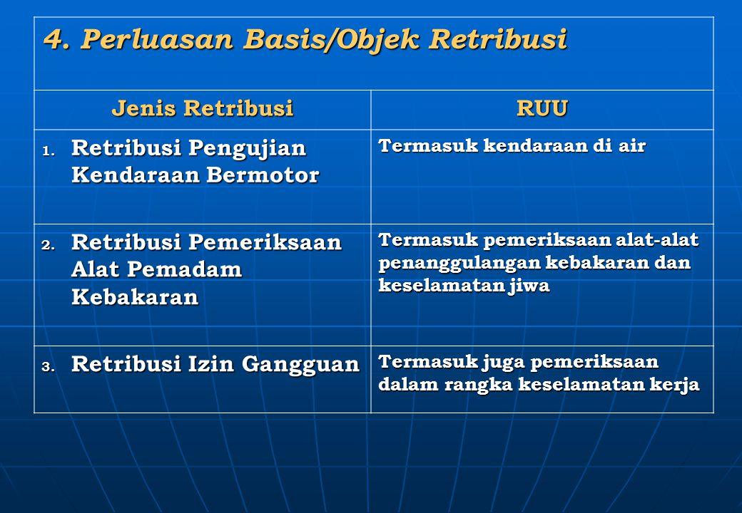 4. Perluasan Basis/Objek Retribusi Jenis Retribusi RUU 1. Retribusi Pengujian Kendaraan Bermotor Termasuk kendaraan di air 2. Retribusi Pemeriksaan Al