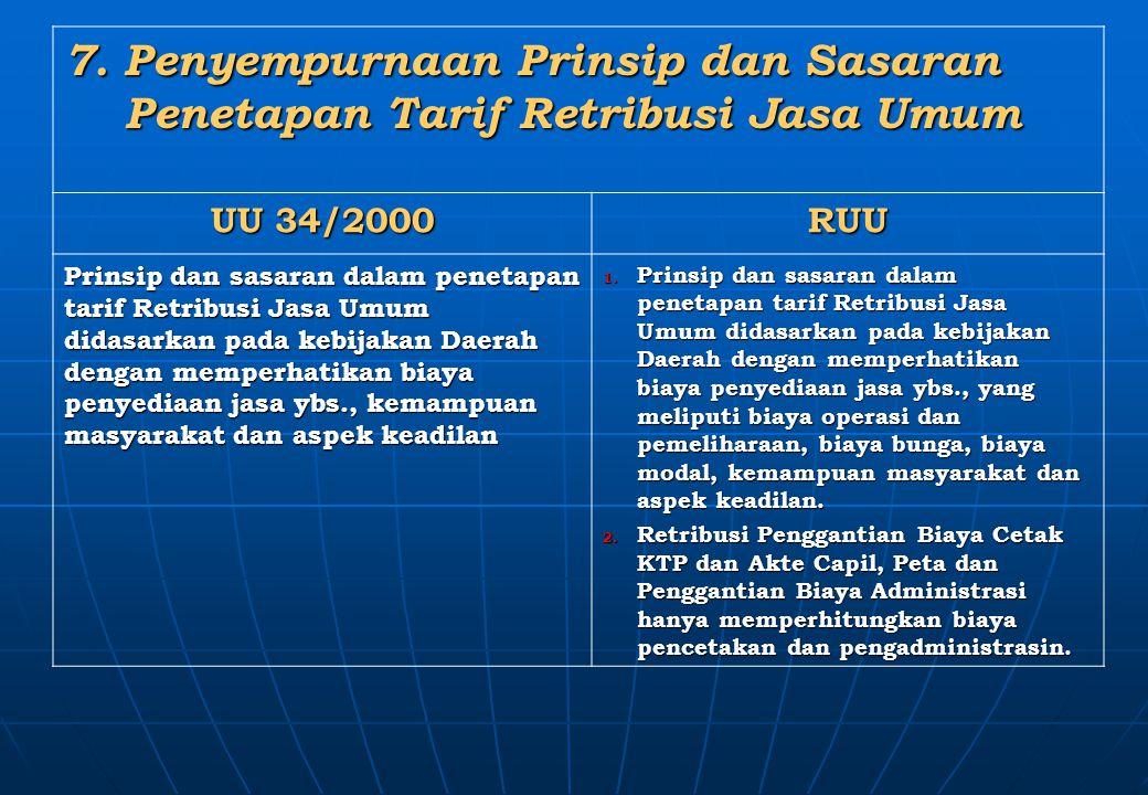 7. Penyempurnaan Prinsip dan Sasaran Penetapan Tarif Retribusi Jasa Umum Penetapan Tarif Retribusi Jasa Umum UU 34/2000 RUU Prinsip dan sasaran dalam