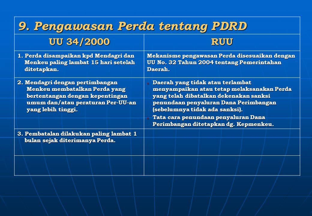 9. Pengawasan Perda tentang PDRD UU 34/2000 RUU 1. Perda disampaikan kpd Mendagri dan Menkeu paling lambat 15 hari setelah ditetapkan. Mekanisme penga