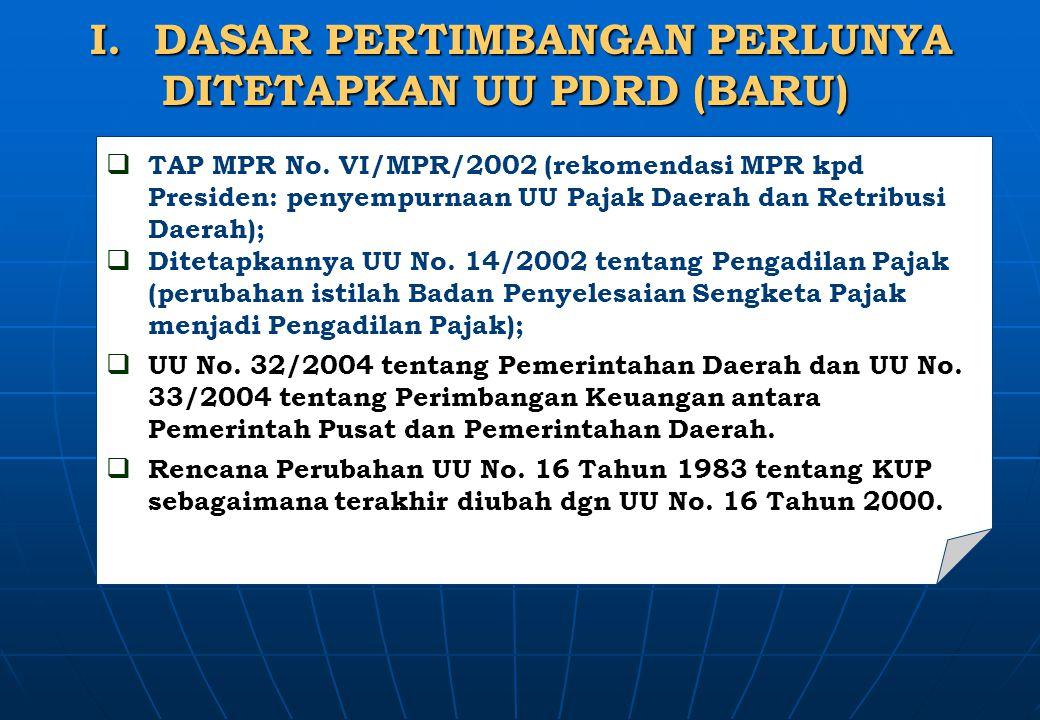 I.DASAR PERTIMBANGAN PERLUNYA DITETAPKAN UU PDRD (BARU) DITETAPKAN UU PDRD (BARU)  TAP MPR No. VI/MPR/2002 (rekomendasi MPR kpd Presiden: penyempurna