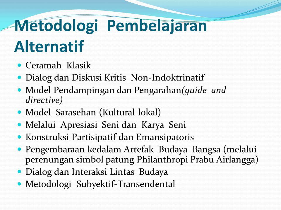 Metodologi Pembelajaran Alternatif Ceramah Klasik Dialog dan Diskusi Kritis Non-Indoktrinatif Model Pendampingan dan Pengarahan(guide and directive) M
