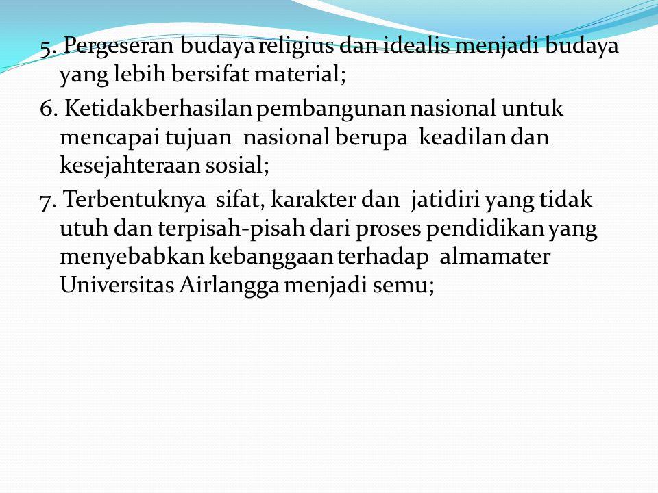 5. Pergeseran budaya religius dan idealis menjadi budaya yang lebih bersifat material; 6. Ketidakberhasilan pembangunan nasional untuk mencapai tujuan