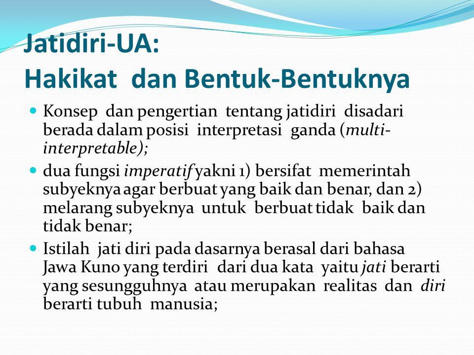Jatidiri-UA: Hakikat dan Bentuk-Bentuknya Konsep dan pengertian tentang jatidiri disadari berada dalam posisi interpretasi ganda (multi- interpretable