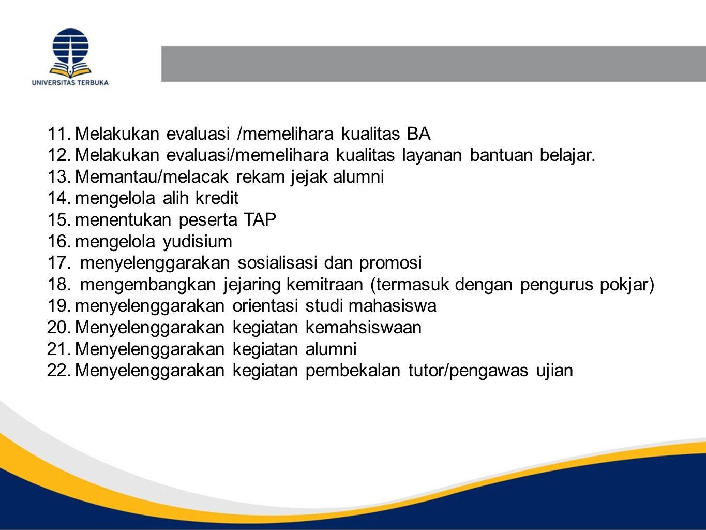 11.Melakukan evaluasi /memelihara kualitas BA 12.Melakukan evaluasi/memelihara kualitas layanan bantuan belajar. 13.Memantau/melacak rekam jejak alumn