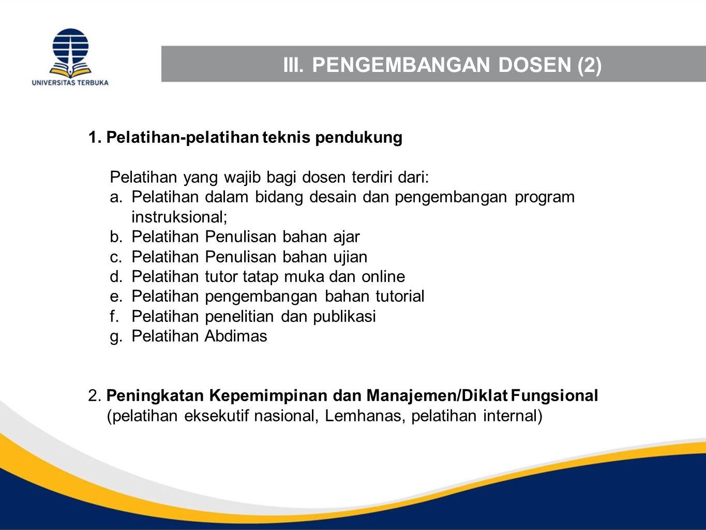 III. PENGEMBANGAN DOSEN (2) 1. Pelatihan-pelatihan teknis pendukung Pelatihan yang wajib bagi dosen terdiri dari: a.Pelatihan dalam bidang desain dan
