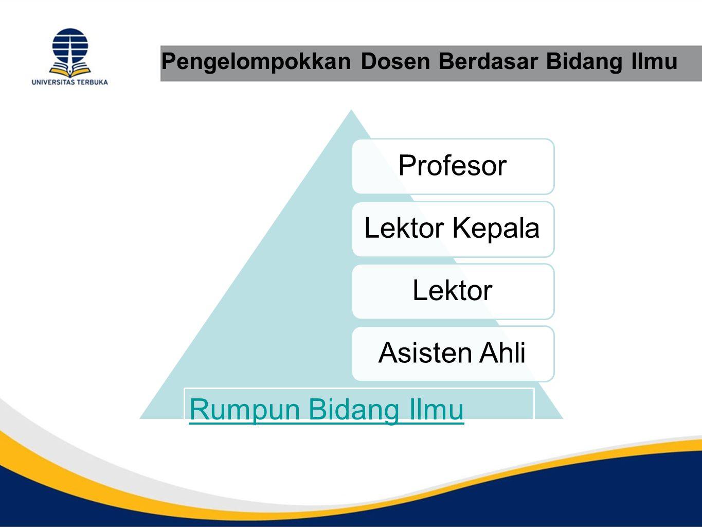 Pengelompokkan Dosen Berdasar Bidang Ilmu ProfesorLektor KepalaLektorAsisten Ahli Rumpun Bidang Ilmu