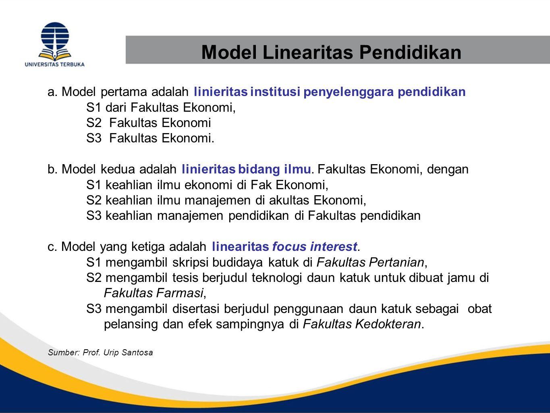 Model Linearitas Pendidikan a. Model pertama adalah linieritas institusi penyelenggara pendidikan S1 dari Fakultas Ekonomi, S2 Fakultas Ekonomi S3 Fak
