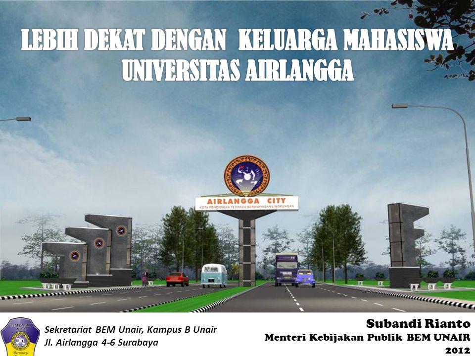 Subandi Rianto Menteri Kebijakan Publik BEM UNAIR 2012 Sekretariat BEM Unair, Kampus B Unair Jl. Airlangga 4-6 Surabaya