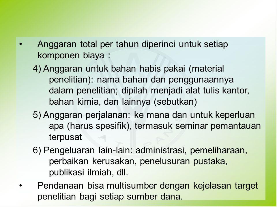 Anggaran total per tahun diperinci untuk setiap komponen biaya : 4) Anggaran untuk bahan habis pakai (material penelitian): nama bahan dan penggunaann