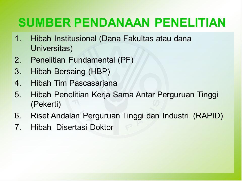 1.Hibah Institusional (Dana Fakultas atau dana Universitas) 2.Penelitian Fundamental (PF) 3.Hibah Bersaing (HBP) 4.Hibah Tim Pascasarjana 5.Hibah Pene
