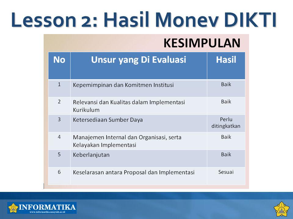 Lesson 2: Hasil Monev DIKTI