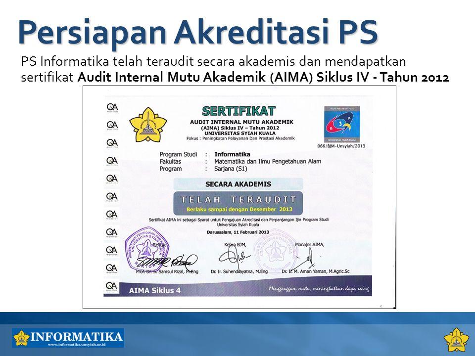 PS Informatika telah teraudit secara akademis dan mendapatkan sertifikat Audit Internal Mutu Akademik (AIMA) Siklus IV - Tahun 2012 Persiapan Akredita