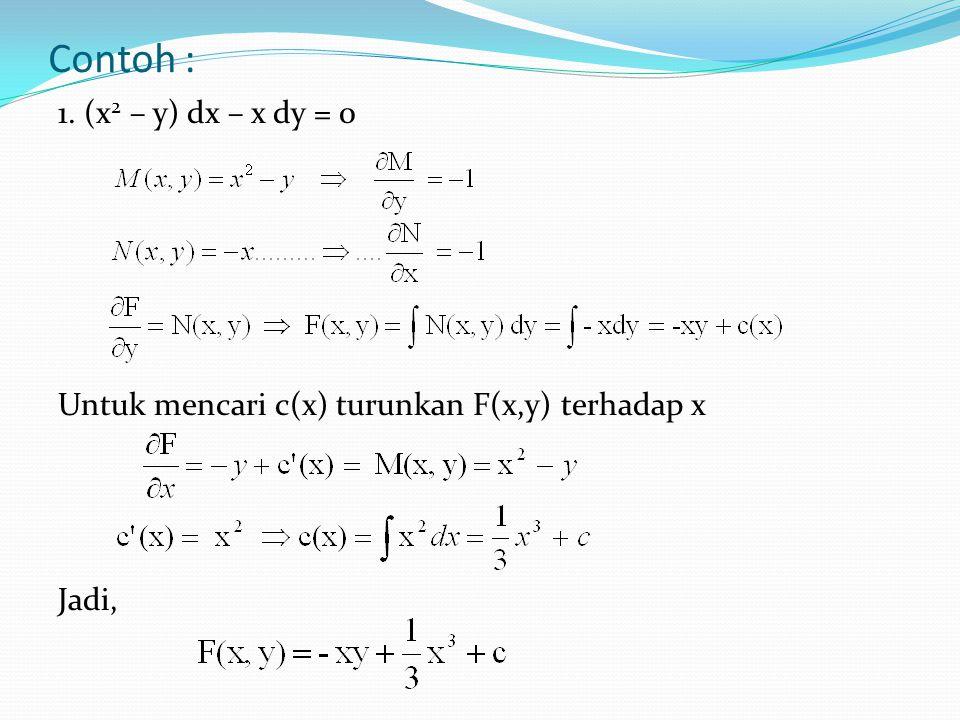 Contoh : 1. (x 2 – y) dx – x dy = 0 Untuk mencari c(x) turunkan F(x,y) terhadap x Jadi,
