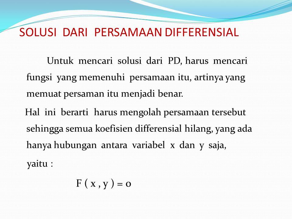 SOLUSI DARI PERSAMAAN DIFFERENSIAL Untuk mencari solusi dari PD, harus mencari fungsi yang memenuhi persamaan itu, artinya yang memuat persaman itu me
