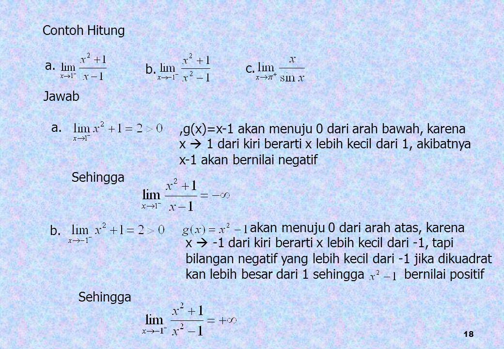 18 Contoh Hitung a. b. c. Jawab a.,g(x)=x-1 akan menuju 0 dari arah bawah, karena x  1 dari kiri berarti x lebih kecil dari 1, akibatnya x-1 akan ber
