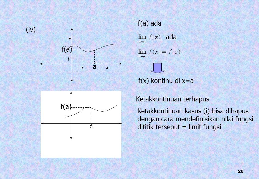 26 (iv) a f(a) f(a) ada ada f(x) kontinu di x=a Ketakkontinuan terhapus Ketakkontinuan kasus (i) bisa dihapus dengan cara mendefinisikan nilai fungsi