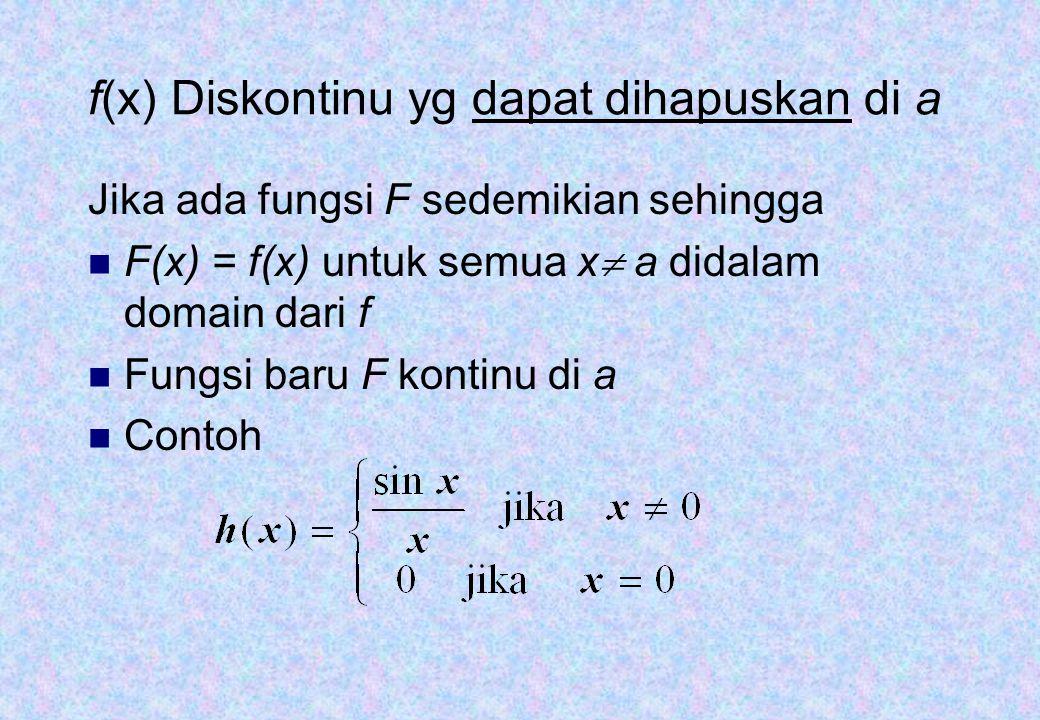 f(x) Diskontinu yg dapat dihapuskan di a Jika ada fungsi F sedemikian sehingga F(x) = f(x) untuk semua x  a didalam domain dari f Fungsi baru F konti
