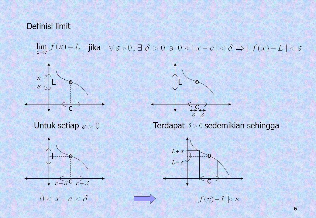 5 Definisi limit jika c º Untuk setiap L c º L Terdapat sedemikian sehingga c º L c º L