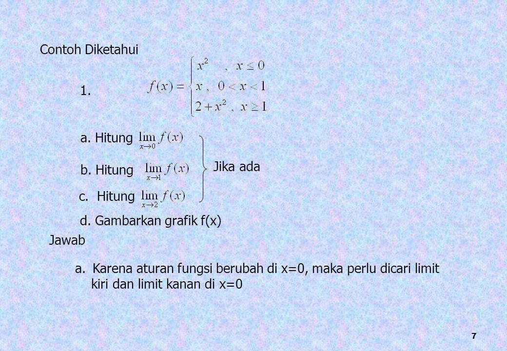 28 c. - - - Karena semua syarat dipenuhi  f(x) kontinu di x=2