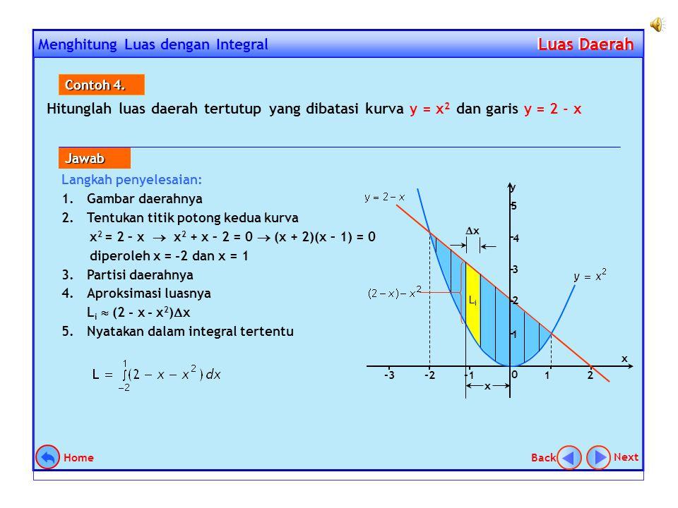 LUAS DAERAH ANTARA DUA KURVA Perhatikan kurva y = f(x) dan y = g(x) dengan f(x) > g(x) pada selang [a, b] di bawah ini. Dengan menggunakan cara : part