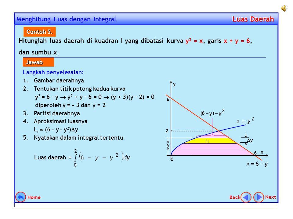 Jika daerah tersebut dipartisi secara horisontal, maka akan diperoleh satu bentuk integral yang menyatakan luas daerah tersebut. Sehingga penyelesaian
