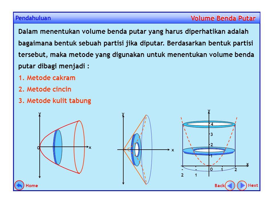 Pendahuluan Volume Benda Putar Volume Benda Putar Suatu daerah jika di putar mengelilingi garis tertentu sejauh 360º, maka akan terbentuk suatu benda