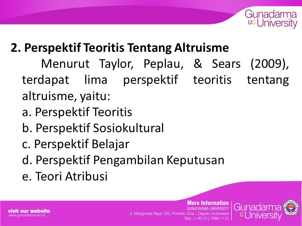 2. Perspektif Teoritis Tentang Altruisme Menurut Taylor, Peplau, & Sears (2009), terdapat lima perspektif teoritis tentang altruisme, yaitu: a. Perspe