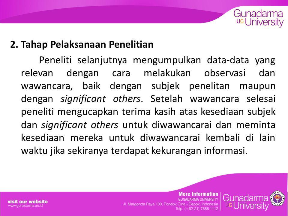 2. Tahap Pelaksanaan Penelitian Peneliti selanjutnya mengumpulkan data-data yang relevan dengan cara melakukan observasi dan wawancara, baik dengan su